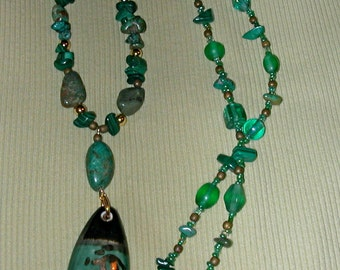 Necklace of Malachite and Turquoise Chips Gold Colored Beads and Asian Influenced Porcelain Pendant
