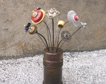 Metal Flower Vase industrial lidded vase w/ holes for flower stake Steampunk Wedding Gift Office Lobby Counter Decor upcycled Texas oil pipe