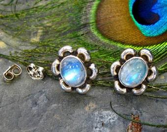 Earrings: Rainbow Moonstone Sterling Silver Flower Cabochon Post Earrings