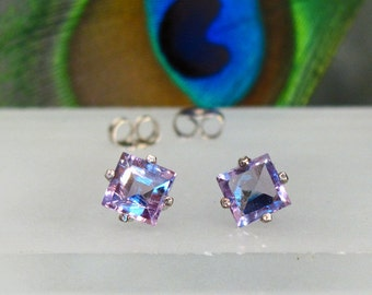 Earrings: Amethyst Princess Cut ~ Square Sterling Silver Post Earrings ~ Birthstone Studs
