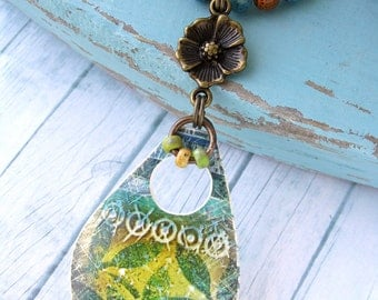 Polymer Clay Pendant Beach Boho Jewelry featuring Green Leaf Citrus Design in Green, Yellow, Turquoise and White