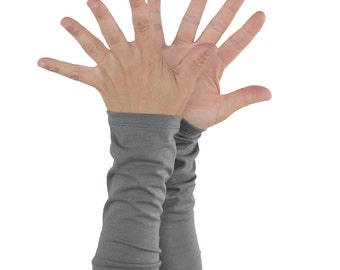 Arm Warmers in Stone Grey - Long Cuffs - Fingerless Gloves - Sleeves - LAST PAIR