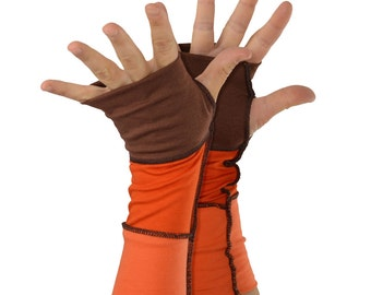Arm Warmers in Pumpkin Pie - Brown Orange - Segmented Sleeves - Fingerless Gloves