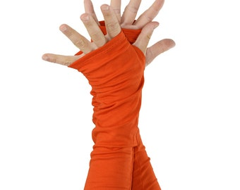 Arm Warmers in Mandarine Orange - Sleeves - Fingerless Gloves