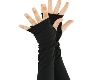 Arm Warmers in Black Ink - Organic Cotton Fingerless Gloves