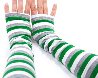 Arm Warmers in Green Leprechaun Stripes - Green Grey White - Fingerless Gloves - Sleeves