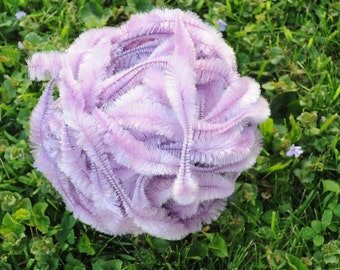 Vintage DARK LILAC Bump Chenille Fuzzy Wire Stems - By The Yard - Pipe Cleaner - Hard to Find - Excellent Condition