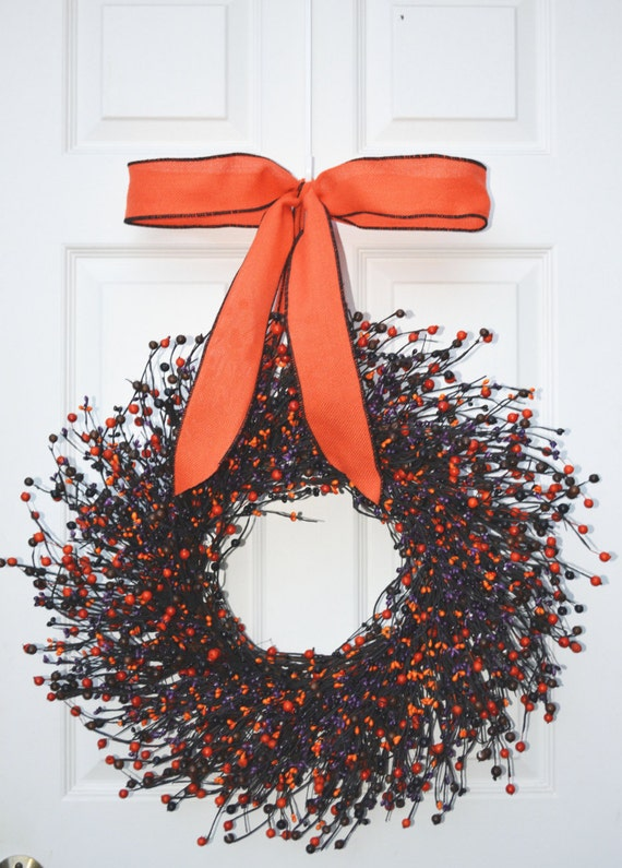 Orange Black Purple Halloween Wreath, Fall Wreath, Halloween Decor, Halloween Decoration, Trick or Treat Decor  QUICK SHIP