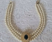Vtg '80s, Chunky, Multi 3-Strand, Faux Pearls & Crystals, Statement, Choker, Necklace