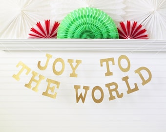 Glitter Joy To The World Banner - 5 inch Letters - Christmas Decoration Holiday Decor Christmas Banner Holiday Banner Christmas Garland