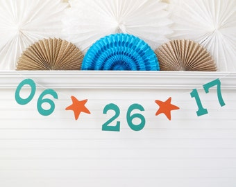 Save the Date Banner - 5 Inch Numbers with Starfish - Bridal Shower Decoration Date Photo Prop Banner Starfish Wedding Sign Beach Wedding