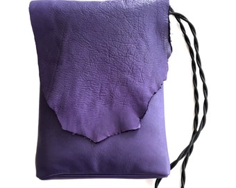 Purple leather iPad Hipster Crossbody Pouch With Long Skinny Shoulder Strap