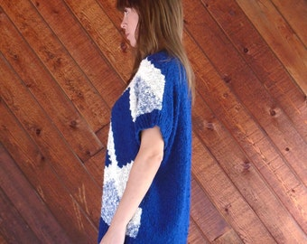 extra 25% off SALE ... Chunky Bright Blue and White Diamond Knit Slouchy Pullover Sweater - Vintage 80s - OS OSFM