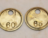 "Lot of 2 Total 1"" Brass Number Tags Antique Victorian Numbered Motel Room Key Fob Tag Diy Collage Jewelry Repurpose"