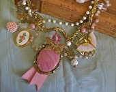 Fancy Dancers: Butterfly Necklace Vintage Assemblage Butterflies Raspberry Pink Cameo Roses One of a Kind Boho Wedding