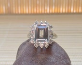 White Topaz Ring Emerald Cluster Sterling Silver April birthstone Ready To Ship Size 7
