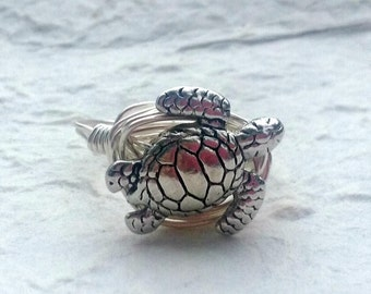 Sterling Silver Plated Detailed Sea Turtle Wire Wrapped Ring, Made To Order, Turtle Ring