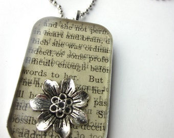 Book page resin bezel necklace, heart and brain; words to her
