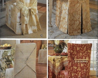 CHAIR COVER Sewing Pattern - Four Elegant Waverly Dining Room Chairs Seat Covers OOP 4480