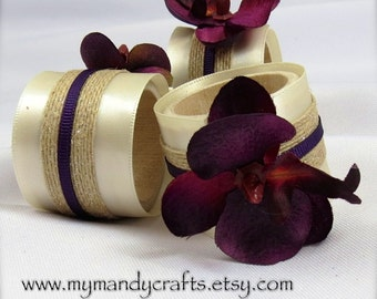 Burgundy Orchid Napkin Rings for Wedding or Dinner Party