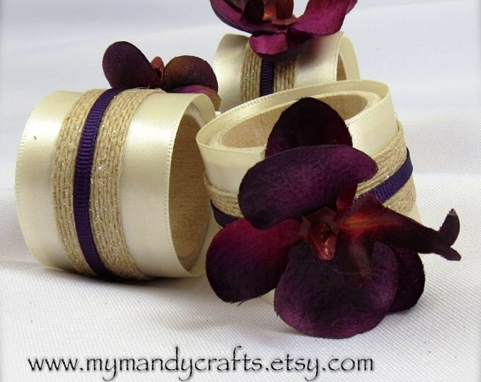 Featured listing image: Burgundy Orchid Napkin Rings for Wedding or Dinner Party