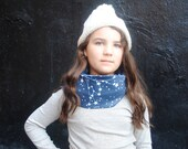 Galaxy Scarf, Organic Scarf for Kids, Blue Night Sky, Organic Cotton Knit Tube Scarf, Fall Fashion, Winter Scarf
