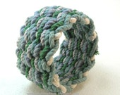 blue green basket weave rope bracelet handcrafted rope bracelet soft cuff wristband 3220