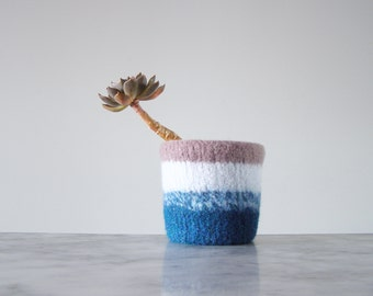wool planter - felted plant pot - succulent or cactus planter - shades of blue and mauve - waterproof plant liner - gifts for gardeners