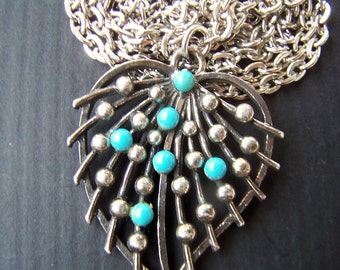 Vintage Long Necklace , 1970's Faux Blue Turquoise Pewter Leaf Pendant on 40 inch long chunky silver tone chain great necklace for layering