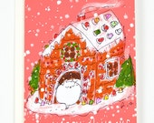 Happy Holidays - Cat Christmas Card - Gingerbread House - Cat Card