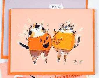 Funny Halloween Card - Cat - Pumpkie Bump - Belly Smack Cats - Halloween Cat Card