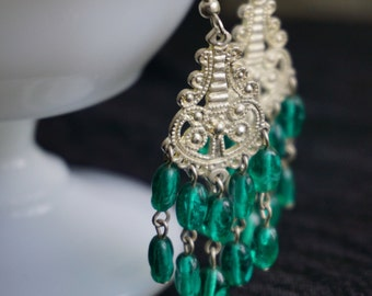 Vibrant green and silver chandeliers