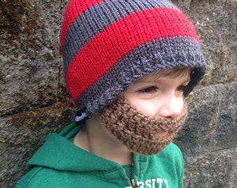 Scarlet and Grey Toddler Beard Beanie 2t to 4t Ships Free
