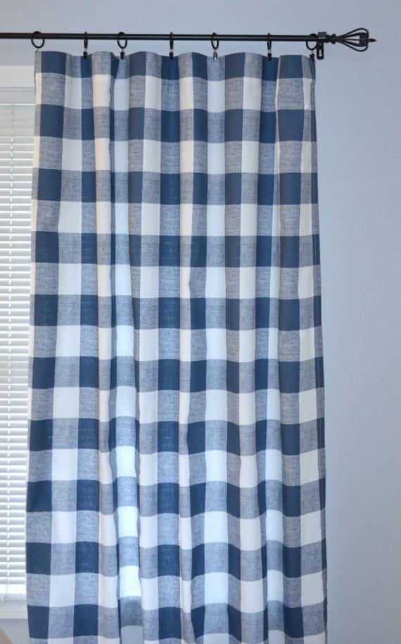 Navy Blue Buffalo Check Curtains Pair Of Rod Pocket Panels