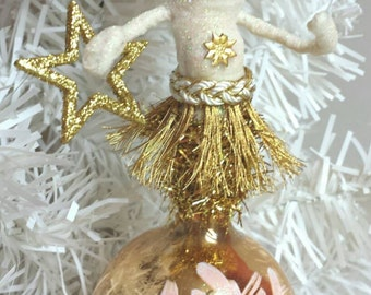 SALE Spun Cotton Ornament Gold and White Princess