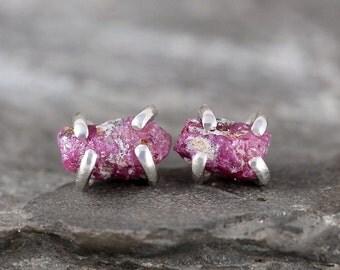Ruby Earrings - Raw Uncut Rough Ruby Gemstones - July Birthstone Earring-Red Gem-40th Anniversary Gem - Sterling Silver Rustic Stud Earrings