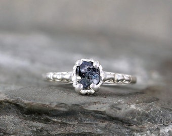Raw Dark Blue Sapphire Ring - Sterling Silver Filigree - Engagement Ring - September Birthstone Ring - Antique Style Rings - Uncut Blue Gems