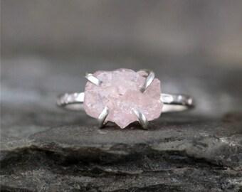 Morganite Ring - Raw Uncut Rough Morganite - Sterling Silver Ring - Raw Pink Gemstone Ring - Stacking Ring - Rustic Gemstone Rings