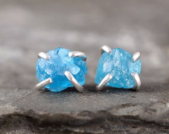 Uncut Raw Rough Apatite Earrings - Sterling Silver Stud Style Earrings - Electric Blue Apatite Gemstone Earring