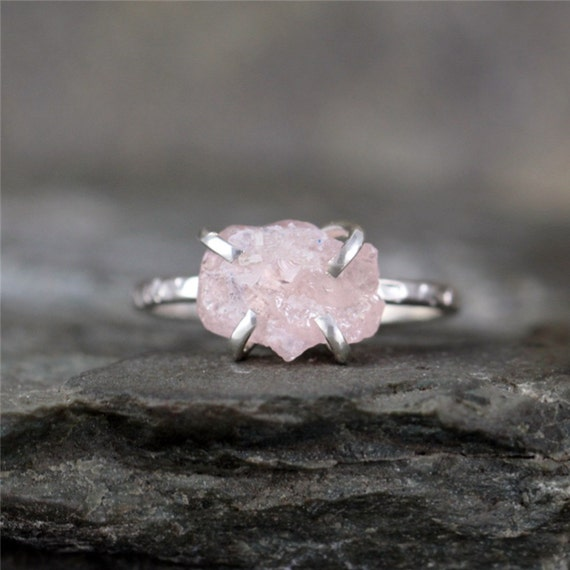 Morganite Ring - Raw Uncut Rough Morganite - Sterling Silver Ring - Raw Pink Gemstone Ring - Stacking Ring - Rustic Gemstone Rings