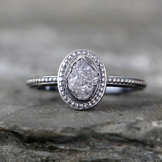 Uncut Diamond Ring Raw Rough Diamond Engagement By ASecondTime