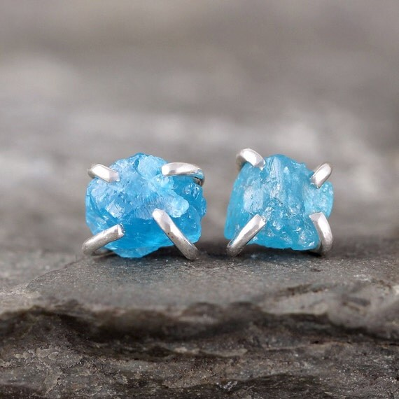 Uncut Raw Rough Apatite Earrings - Sterling Silver Stud Style Earrings - Electric Blue Apatite Gemstone Earring