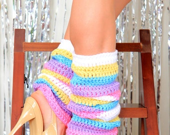 Pastel Rainbow Leg Warmers - Colorful Leggings in Candy Colored Caribbean Stripes - Island Day Dreams