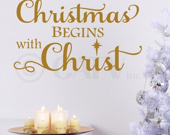 Christmas begins with Christ vinyl lettering wall sayings decal quote sticker gift decoration