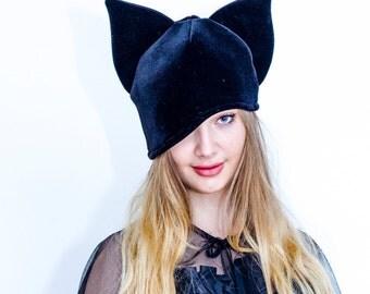 Black velvet hat,Cat Ears,Halloween Costume,Halloween ears,Costume ears,Black Ears,Velvet Ears,Headband,Kitten Ears,Party Ears,Cosplay Ears