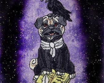 Nevermore Raven Edgar Allen Poe Pug Iron on Patch