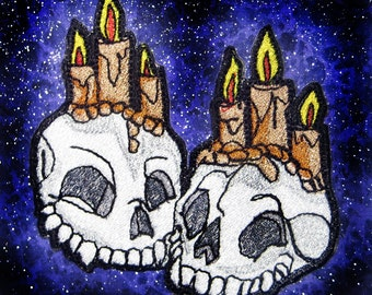 Together Forever Skulls with Candles Iron on Patch