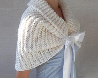 Hand Knit Bridal Wrap, Shrug, Wedding Shawl, Caplet,Bolero, White Shawl, Wedding Jacket, Bridesmaids Wrap, Free shipping