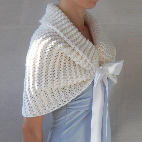 Hand Knit Bridal Wrap Shrug Wedding Shawl CapletBolero