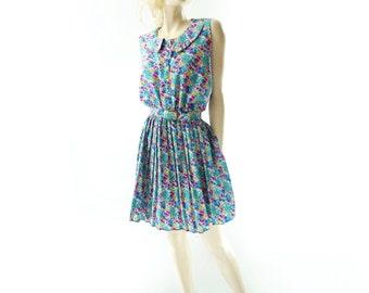 Floral Mini Dress, Vintage Floral Dress, 80s Blue Pink Floral, 80s Vintage Dress, Full Skirt Dress, Vintage Floral Mini, m